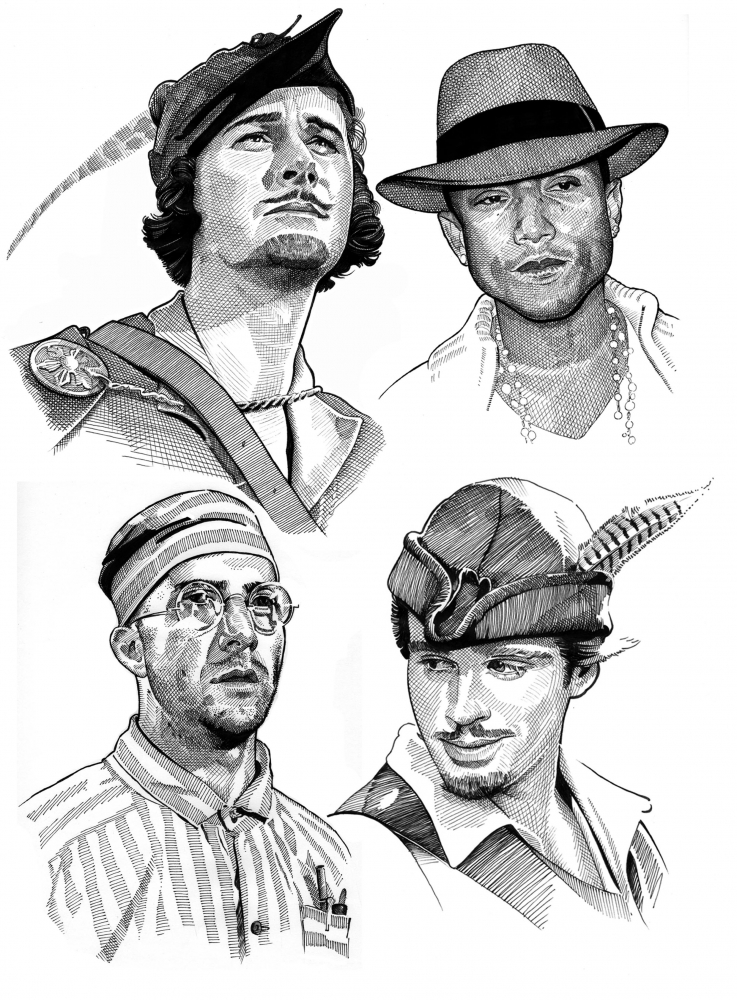 Pharrell Williams, Dustin Hoffman, Cary Elwes, Errol Flynn por Stefanosart